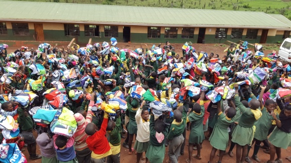 over 500 Uzwelo school bags donated to Manyoni primary after the 2016 Rhino Ride!